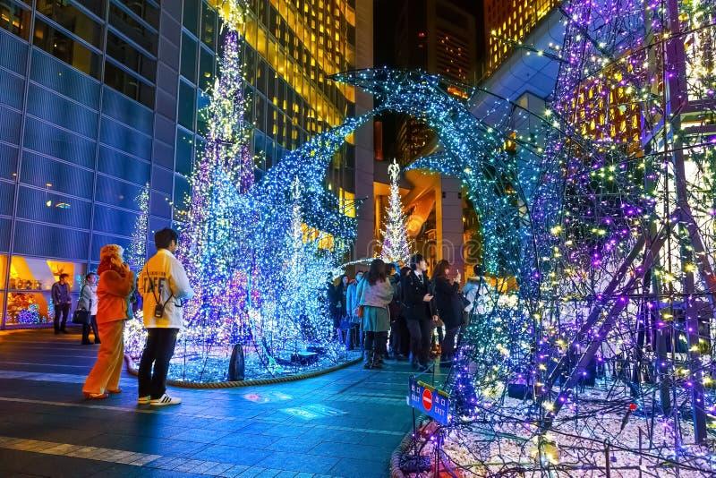 Las iluminaciones se encienden para arriba en la alameda de compras del Caretta en Odaiba, Tokio imagen de archivo