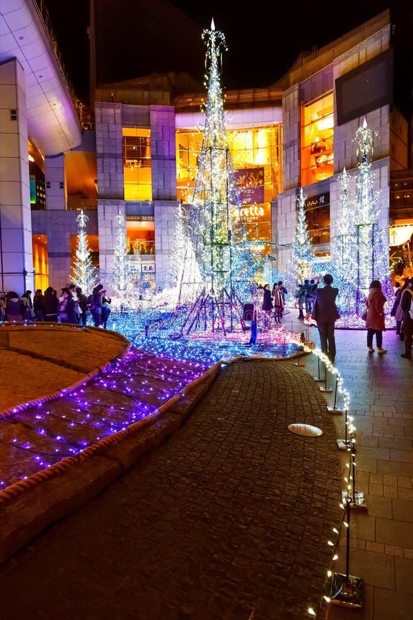 Las iluminaciones se encienden para arriba en la alameda de compras del Caretta en Odaiba, Tokio fotografía de archivo libre de regalías