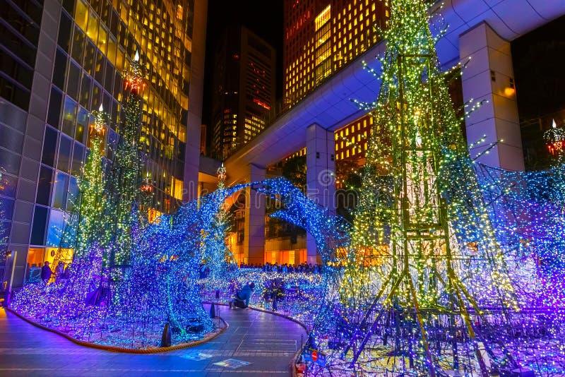 Las iluminaciones se encienden para arriba en la alameda de compras del Caretta en Odaiba, Tokio foto de archivo libre de regalías