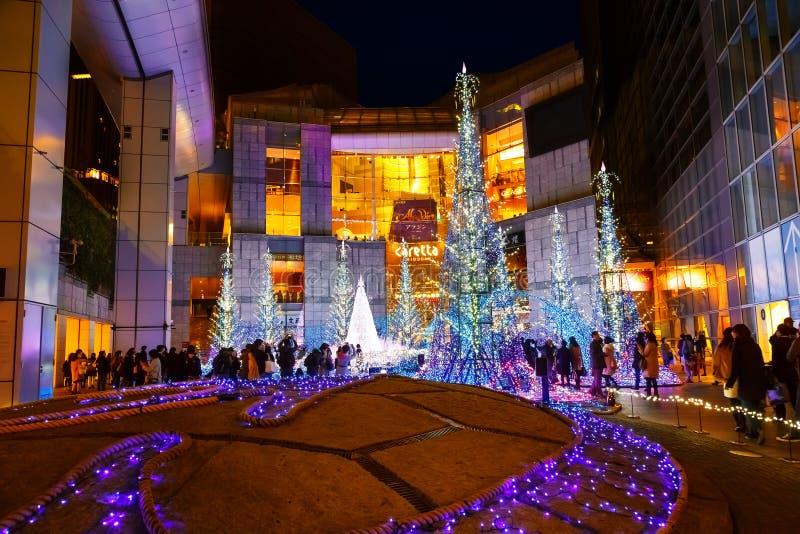 Las iluminaciones se encienden para arriba en la alameda de compras del Caretta en Odaiba, Tokio imagenes de archivo