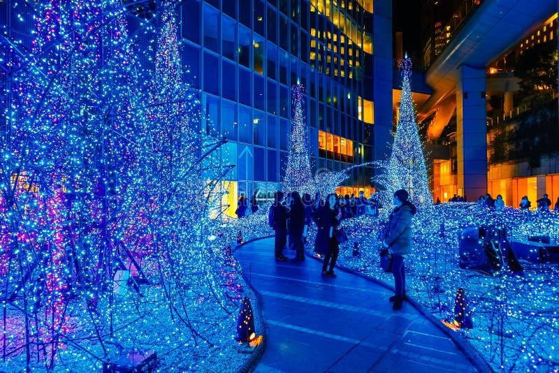 Las iluminaciones se encienden para arriba en la alameda de compras del Caretta en Odaiba, Tokio fotos de archivo libres de regalías