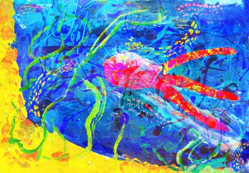 Las ilustraciones abstractas del niño - stock de ilustración