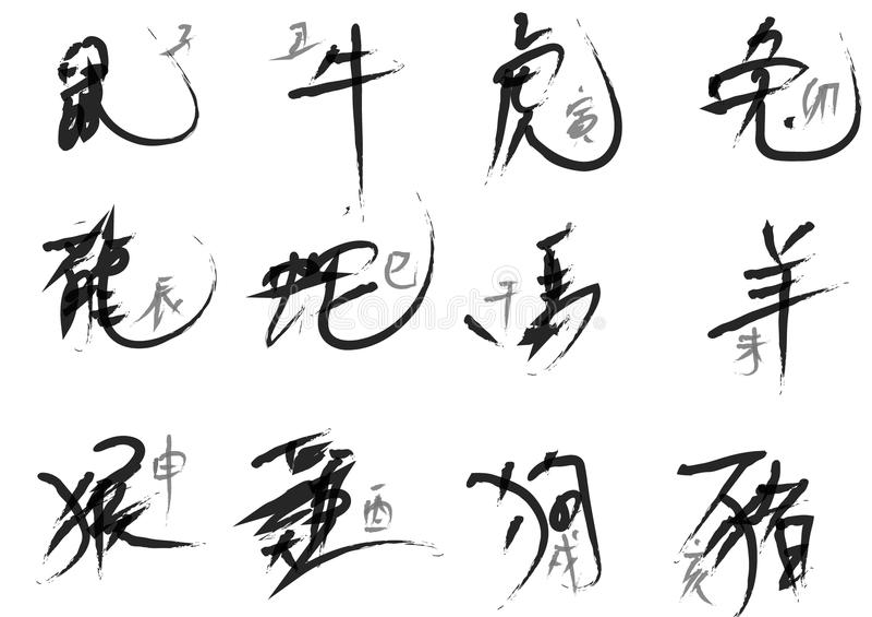 Las ilustraciones de la caligrafía de la tinta para escribir el zodiaco chino firman El zodiaco animal chino es un ciclo de 12 añ libre illustration