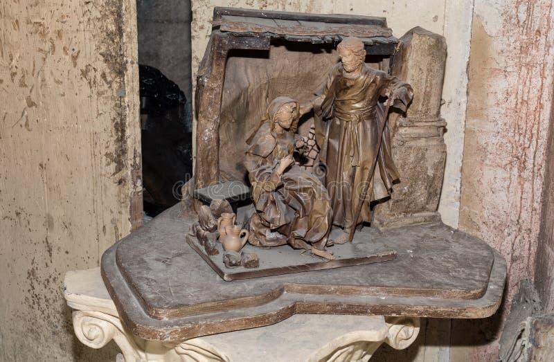 Las ilustraciones por madonna y José esculpen el papier-machè tallado stock de ilustración