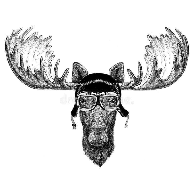 Las imágenes del vintage de alces o de alces para la camiseta diseñan para la motocicleta, bici, moto, club de la vespa, aero- cl libre illustration