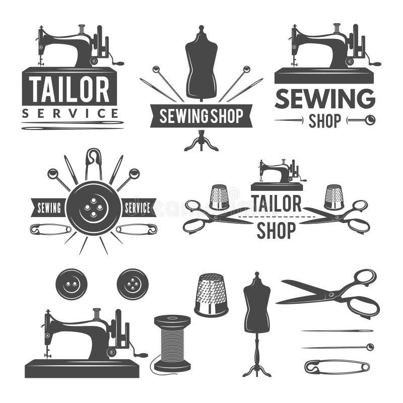 Las imágenes y las etiquetas monocromáticas del vintage para el sastre hacen compras Logotipos para la producción de la materia t libre illustration
