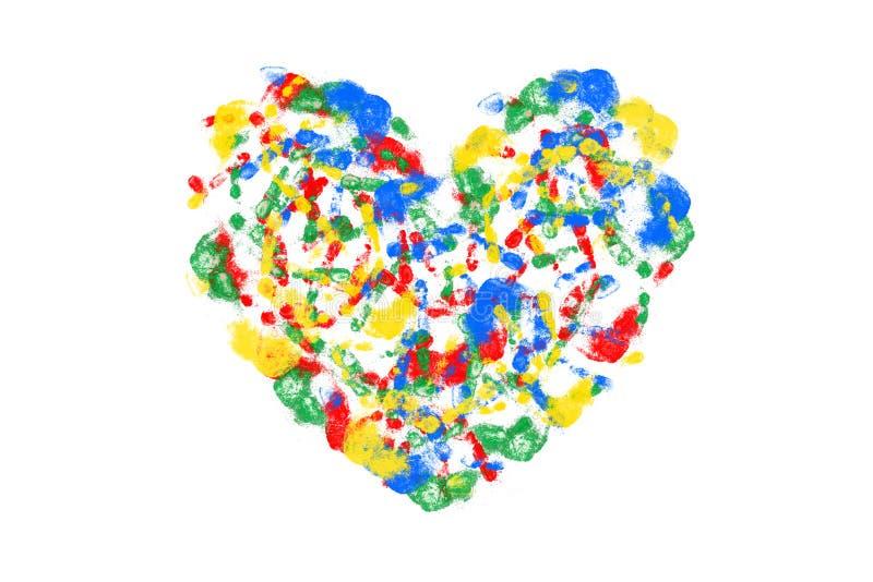 Las impresiones multicoloras del ` s de los niños dan a forma un corazón libre illustration