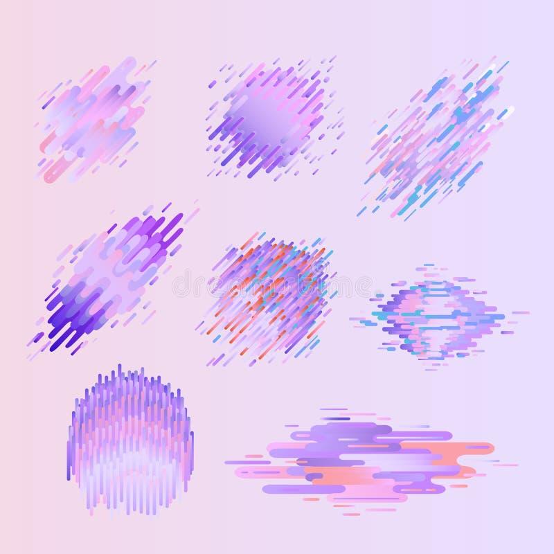 Las insignias coloridas geométricas de Glitched fijaron con efecto de la distorsión en color ultravioleta de moda libre illustration