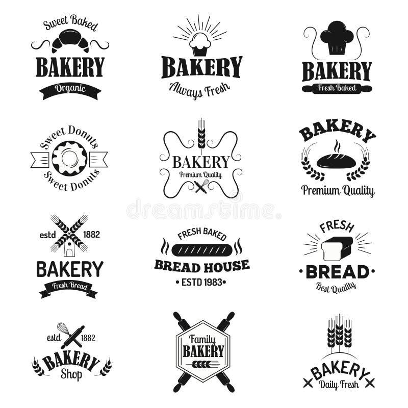 Las insignias de la panadería y los iconos del logotipo enrarecen el sistema moderno de la colección del vector del estilo libre illustration