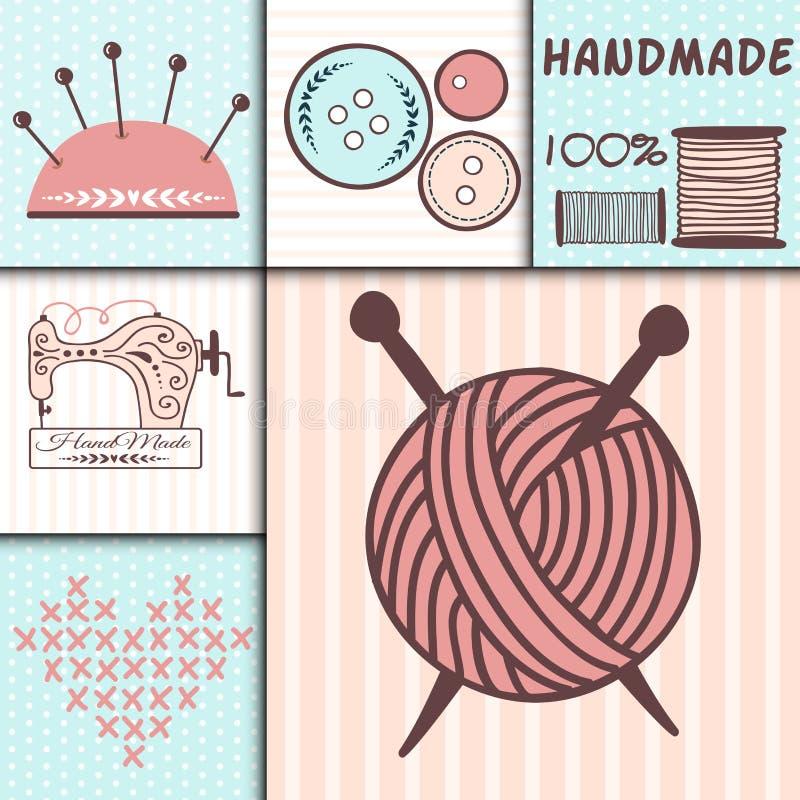 Las insignias hechas a mano del arte de la costura que cosen la adaptación de la moda de las banderas adaptan el ejemplo del vect stock de ilustración