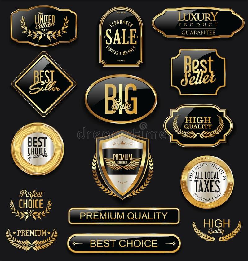 Las insignias y las etiquetas de lujo con el laurel enrruellan la colección de oro stock de ilustración