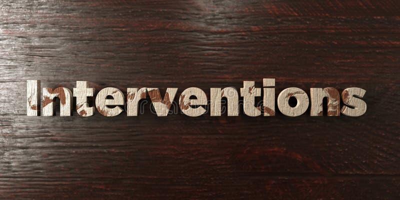 Las intervenciones - título de madera sucio en arce - 3D rindieron imagen común libre de los derechos stock de ilustración