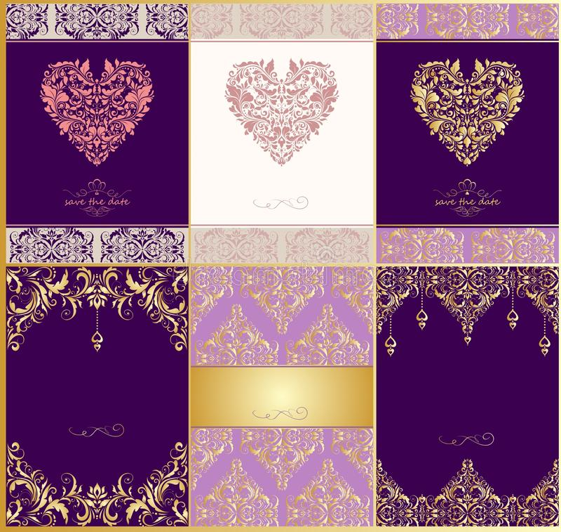 Las invitaciones de la boda con el estampado de flores y el corazón del vintage forman stock de ilustración