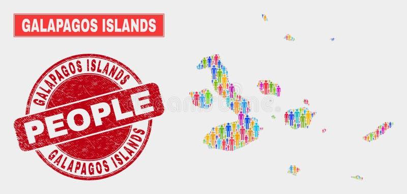 Las islas de las Islas Galápagos trazan Demographics de la población y el sello sucio stock de ilustración