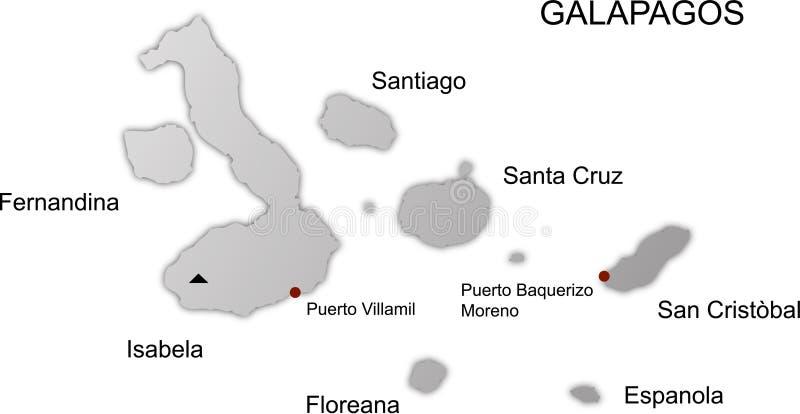 Las islas de las Islas Gal3apagos asocian vector stock de ilustración