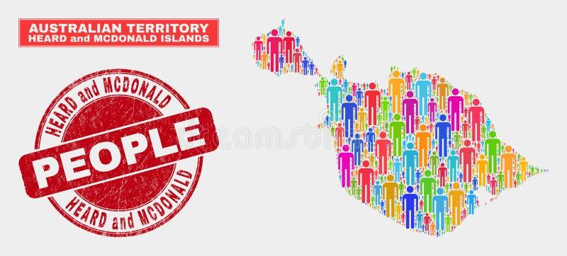 Las islas oída y de McDonald trazan gente de la población y la filigrana texturizada libre illustration