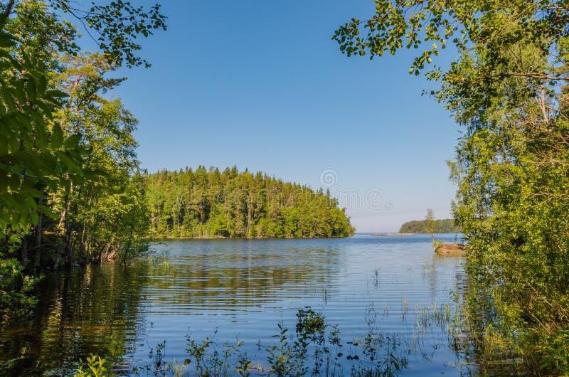 Las islas pintorescas del archipiélago de Valaam Vista a una de las islas y del lago Ladoga en una mañana del verano Karelia, Rus foto de archivo