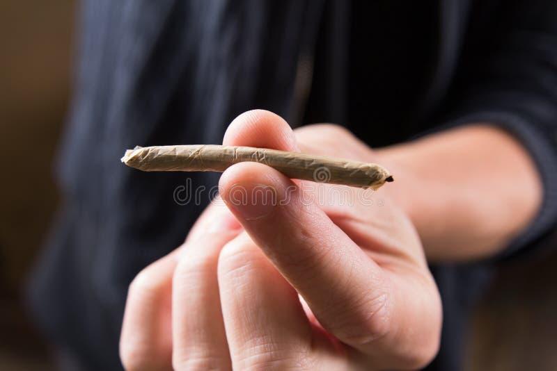 Las juntas de la marijuana en sirven la mano Drogas de ofrecimiento del hombre imagen de archivo libre de regalías