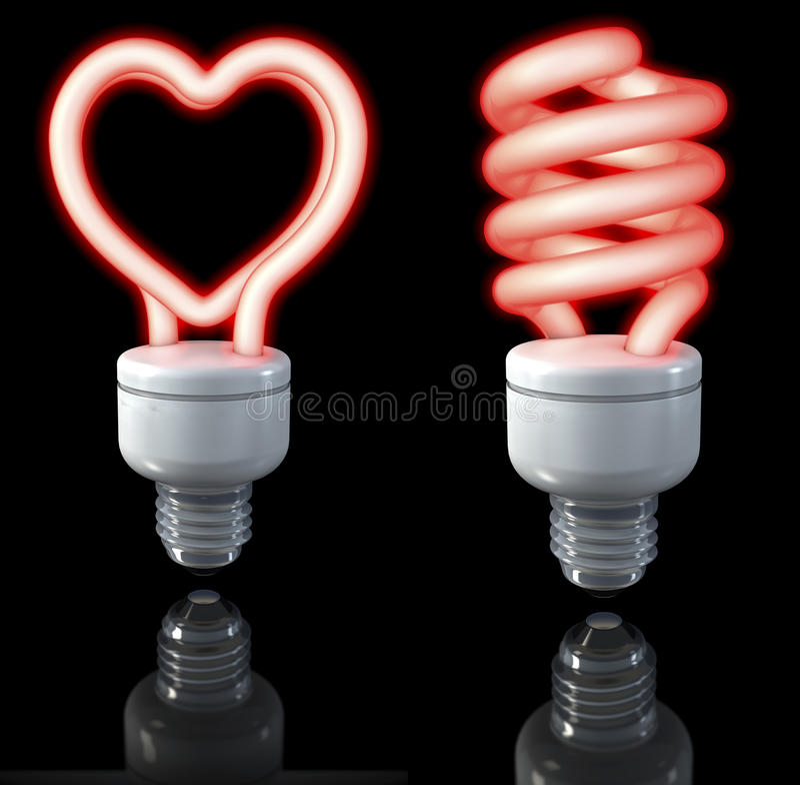 Las lámparas fluorescentes, tuercen en espiral el resplandor formado, en forma de corazón, rojo, representación 3d en fondo oscur ilustración del vector