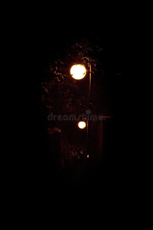 Las lámparas redondas se encienden en el parque en la noche negra imágenes de archivo libres de regalías