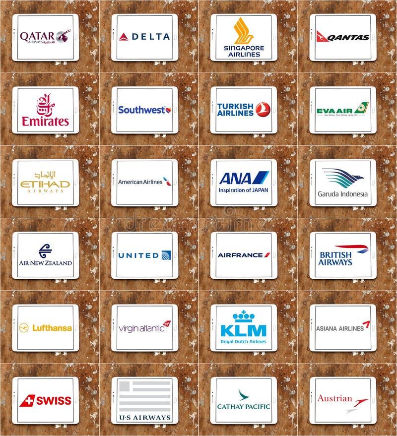 Las líneas aéreas o los logotipos de las vías aéreas les gusta Qatar, delta, emiratos, unidos, KLM, Lufthansa imágenes de archivo libres de regalías