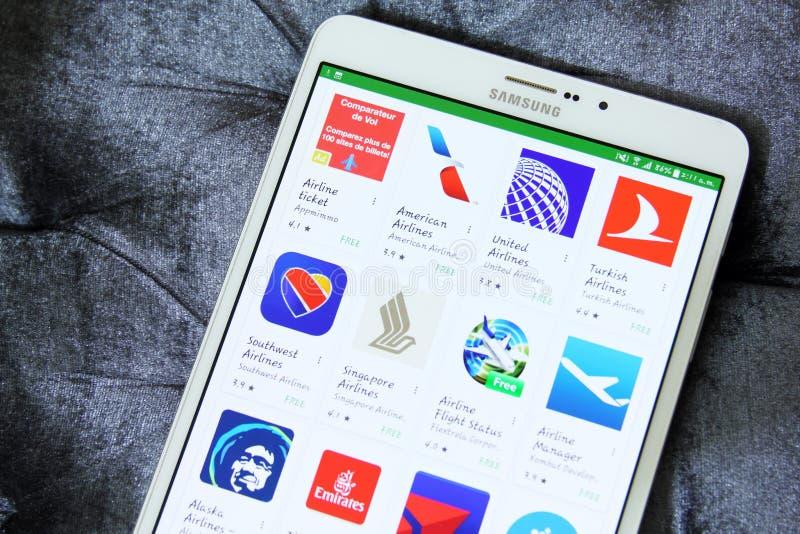 Las líneas aéreas o los logotipos de los apps de las vías aéreas en Google juegan fotos de archivo libres de regalías