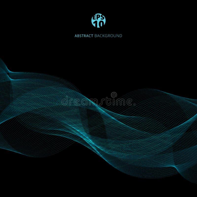 Las líneas azules abstractas agitan la plantilla en fondo negro Smok azul ilustración del vector