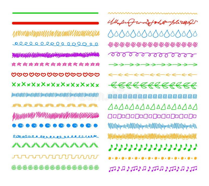 Las líneas coloridas del divisor del garabato del vector, fronteras fijaron el fondo ilustración del vector