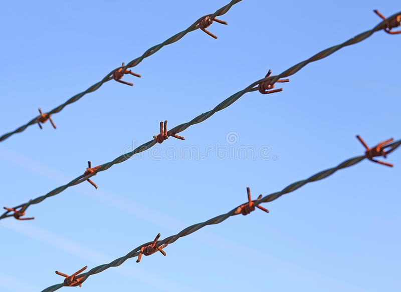 Las líneas de alambre de púas para demarcar la frontera no se abren imagen de archivo libre de regalías