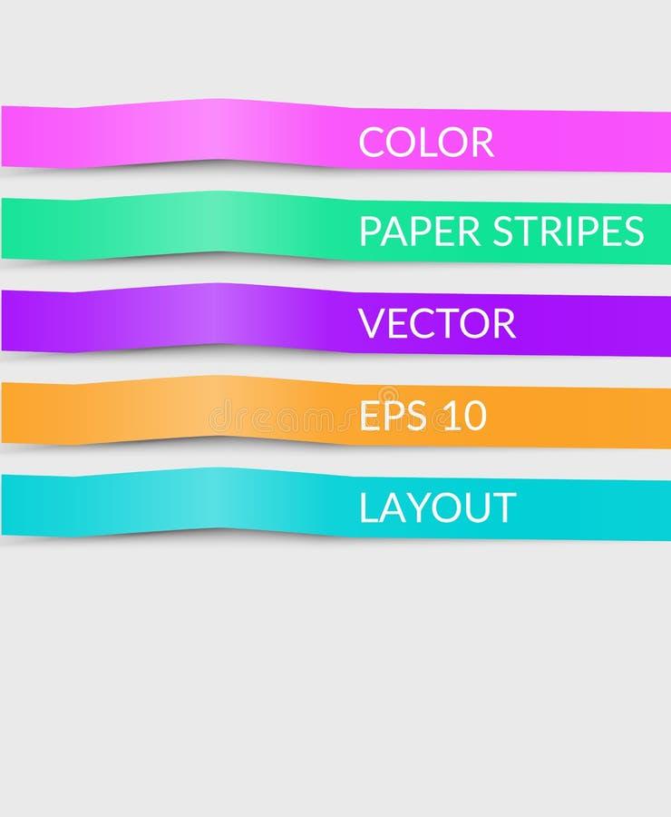 Las líneas de corte de papel coloridas rayas, opciones de la cubierta del vector mandan un SMS a temporeros stock de ilustración