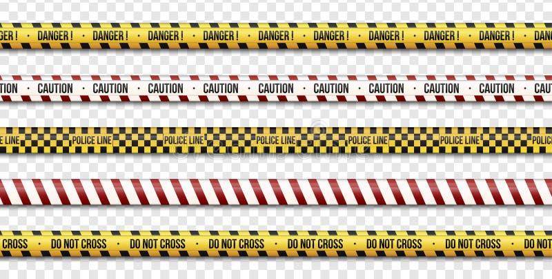 Las líneas de la precaución, limpian y no cruzan, las muestras de las cintas del peligro en el fondo transparente Ilustración del libre illustration