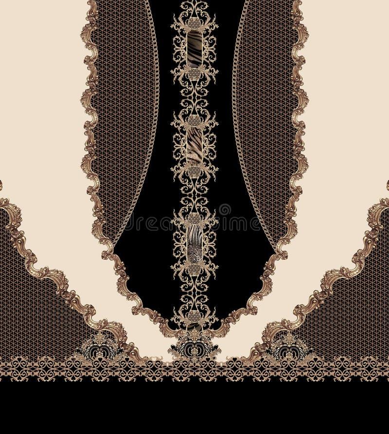 Las líneas del negro del diseño geométrico forman textura hermosa de la tela del ejemplo del estilo ilustración del vector