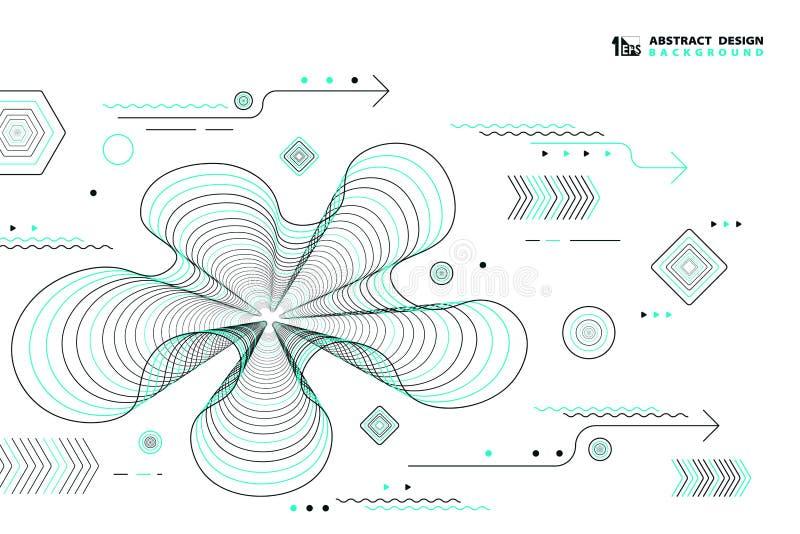 Las líneas elementos geométricos del extracto del vector diseñan la decoración del color negro y verde Vector eps10 del ejemplo stock de ilustración