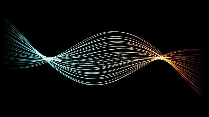 Las líneas espirales hermosas y que sorprenden de la DNA resumen el ejemplo ilustración del vector