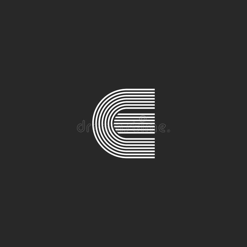 Las líneas finas de E de la letra del monograma creativo linear de la inicial forman, forma geométrica del semicírculo, plantilla libre illustration