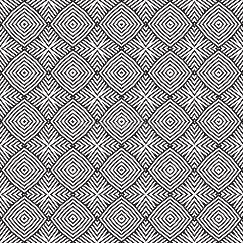Las líneas geométricas cuadrados del vector blanco negro de n diseñan el ejemplo inconsútil del modelo del fondo stock de ilustración