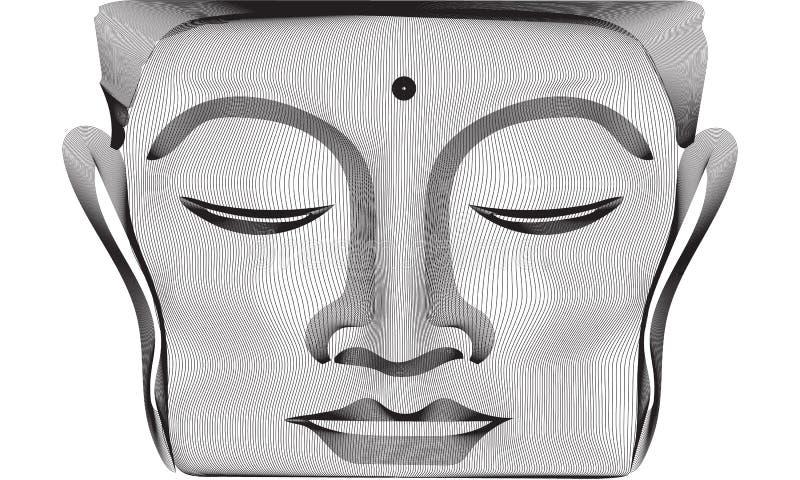 Las líneas grises Buda del extracto 3d hacen frente a la estatua libre illustration