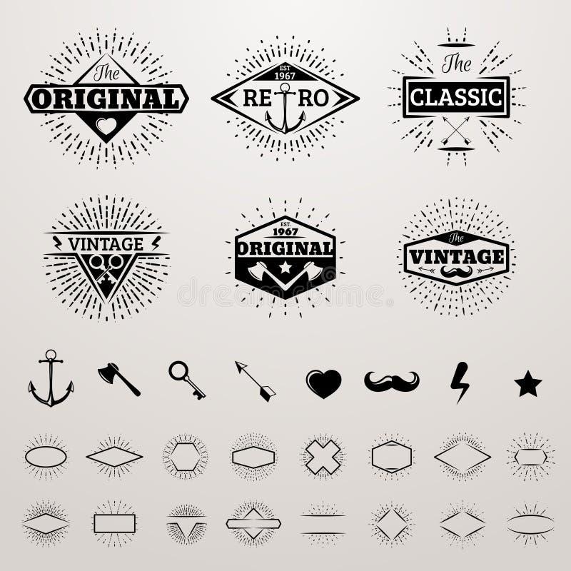 Las líneas insignias del vintage fijadas con la estrella estallaron la impresión del inconformista del vector que estallaba la co libre illustration