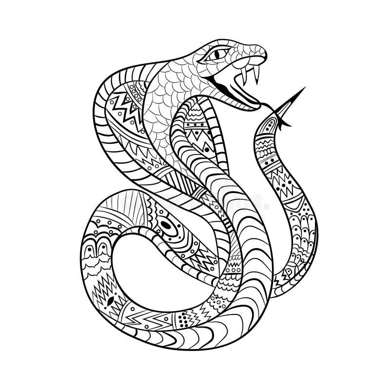 Las líneas limpias garabatean el diseño de serpiente de la cobra para el colorante adulto, diseño de la camiseta, tatuaje, libro  stock de ilustración