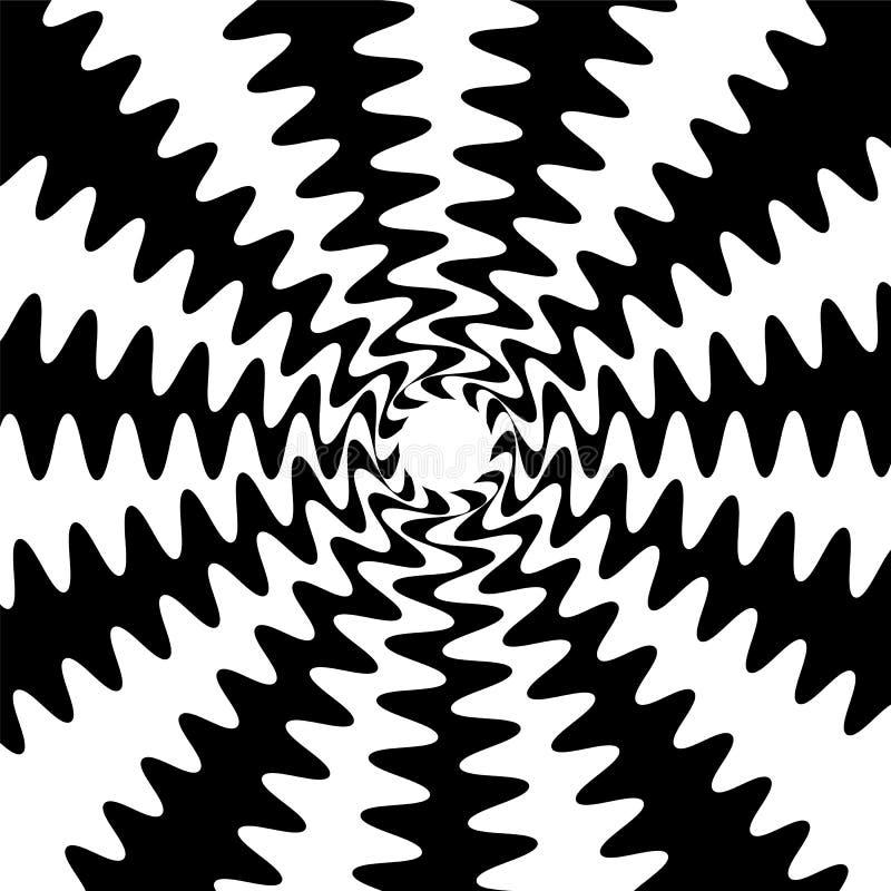 Las líneas onduladas blancos y negros se entrecruzan en el centro Conveniente para la materia textil, la tela, empaquetar y el di stock de ilustración