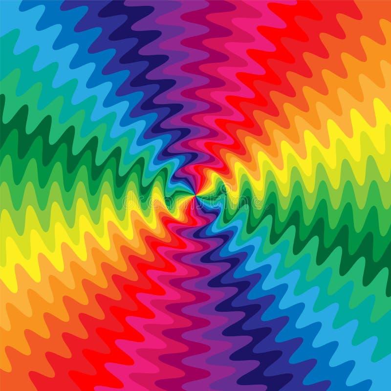Las líneas onduladas iridiscentes se entrecruzan en el centro La ilusión visual del movimiento Conveniente para la materia textil libre illustration