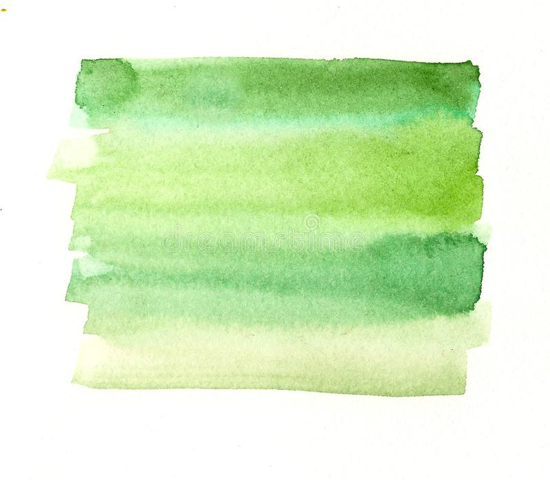 Las líneas verdes hechas a mano de la acuarela etiquetan stock de ilustración