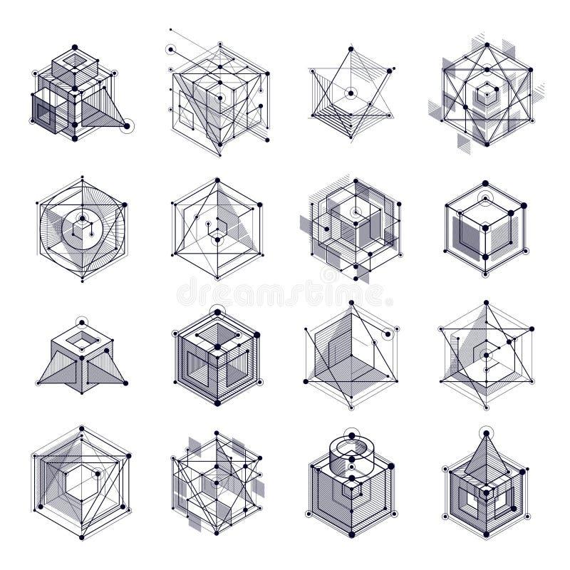Las líneas y las formas resumen los vagos blancos y negros isométricos 3D del vector ilustración del vector