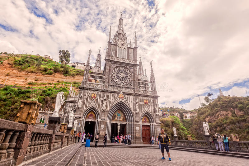 Las Lajas哥伦比亚的天主教,伊皮亚莱斯,哥伦比亚 库存照片
