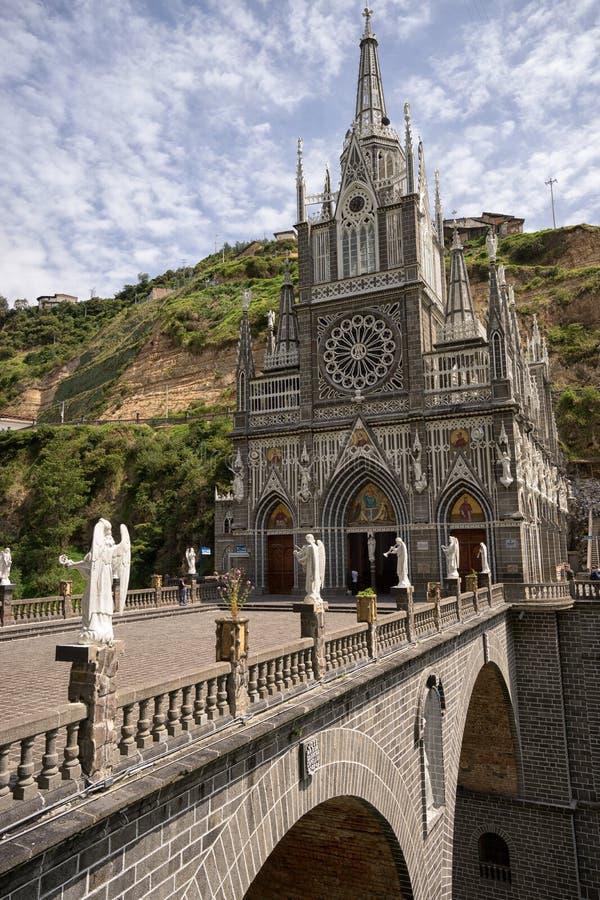 Las Lajas圣所在伊皮亚莱斯哥伦比亚 免版税库存图片