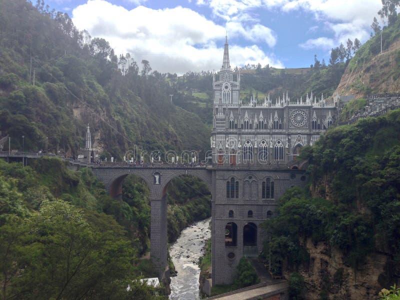 Las Lajas圣所大教堂在河峡谷在哥伦比亚 免版税库存图片