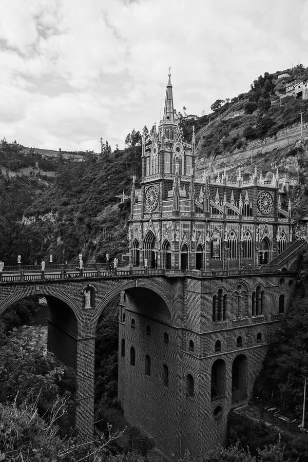 Las Lajas圣所新哥特式教会 库存图片