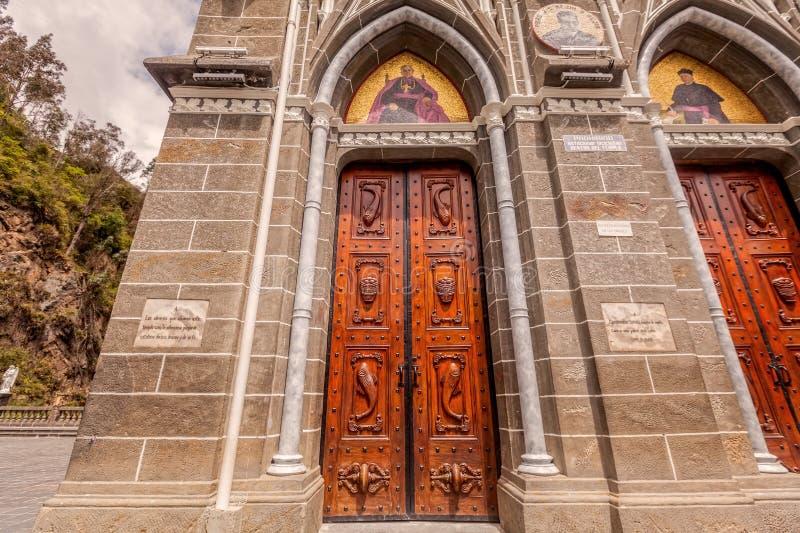 Las Lajas圣所是大教堂教会,伊皮亚莱斯,哥伦比亚 库存图片