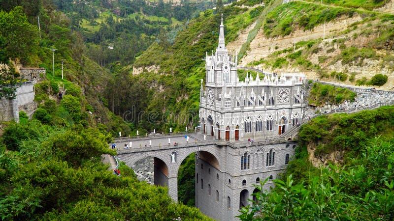 Las Lajas圣所,伊皮亚莱斯,哥伦比亚 图库摄影