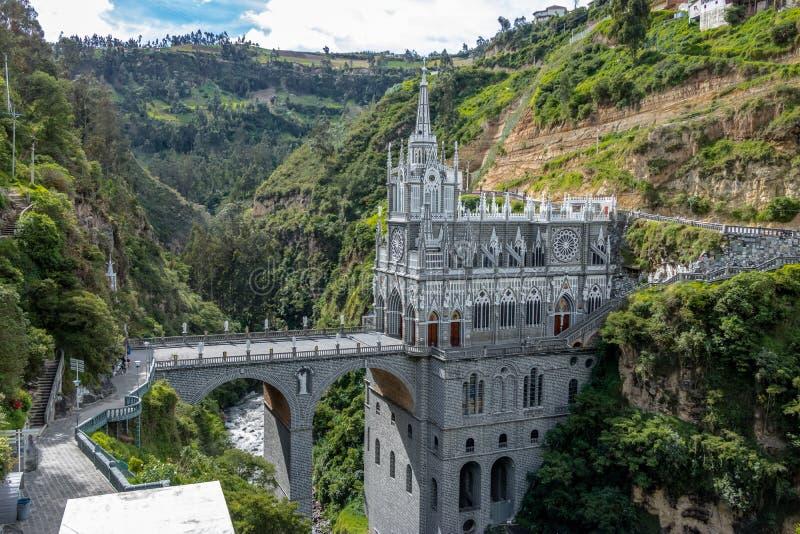 Las Lajas圣所-伊皮亚莱斯,哥伦比亚 免版税库存照片